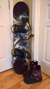 kids snowboard, bindings and boots