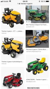 Recherche clientèle pour réparation de tracteur à gazon