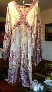 100% silk dress, size L -
