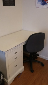 Selling white wooden computer desk and office chair
