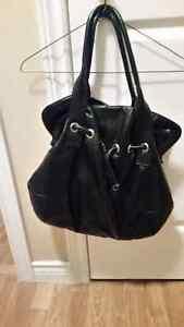 Black faux leather purse.