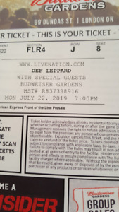 2 DEF LEPPARD TICKETS FOR SALE