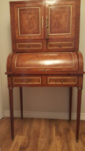 Antique style cylinder desk Bookcase / Secretary