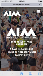 4 VIP tickets for AIM Music Festival in Montreal July 14-16