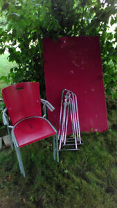 Red Dining room Table and 2 Chairs for sale