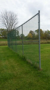 Green vinyl coated chain link fencing 2-10' x 60' sections
