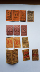 vintage transit tickets, Canadian cities, over 50 years old