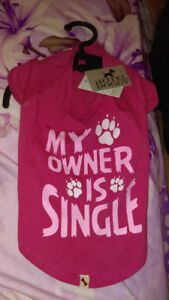 "Brand new Hotel doggie brand "" my owner is single"" dog tshirt."