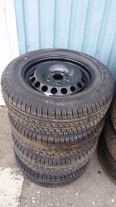 215 60 16 tires on Toyota Camry or Nissan Altima rims 5x114.3