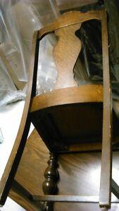 Solid wood antique dining chair with brown leather seat Kitchener / Waterloo Kitchener Area image 5