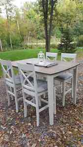 Beautiful refinished dining table four chairs