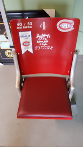 Jean Beliveau  Montreal Canadiens # 4 Forum seat with COA