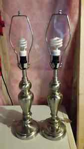 Two brushed nickel lamps