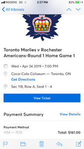 4 tix Marlies - 4/24 - section 118 row A, 1-4