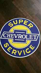 Large Chevy metal (aluminum) garage sign 31 inches in diameter