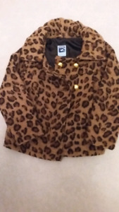 @ girls light jacket leopard purple size 4-5 S