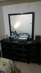 Dresser and mirror and two identical nightstands