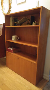 mid century teak bookcase shelving hutch