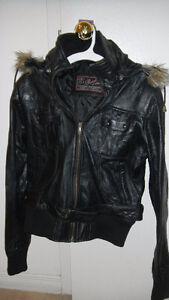 Black Pure Leather Jacket, Mint Condition Size S