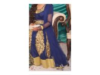 Navy blue and gold Asian wedding party dress