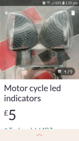 Scooter universal led spear head carbon short stem indicators and univ