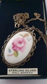 Coalport Fine Bone China Necklace sterling Silver pendant rose flower