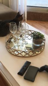 Plateau miroir rond pour table de salon