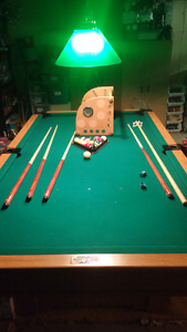 Barely used slate pool table and accessories