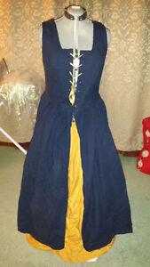 Dark Blue/gold Renaissance-style dress