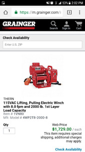 Thern 2000lb portable power winch and thern Davit crane