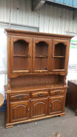 Rustic Solid Wood Dining Room Buffet/Hutch China Cabinet