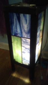 Stained glass and iron lamp.