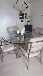 Glass Dining Table with 4 Rod Iron Cushion Chairs Kitchener / Waterloo Kitchener Area image 2