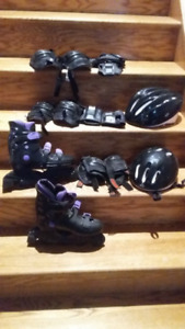 BOYS' INLINE SKATES, HELMETS AND PADS - SIZE 5