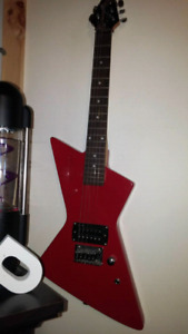 Red electric guitar.    need one string