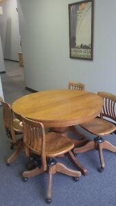 "42"" Antique Oak Solid Wood Table & Option of 7 Chairs or less"