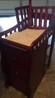 Solid crib and change table drawer set converts to a bed after