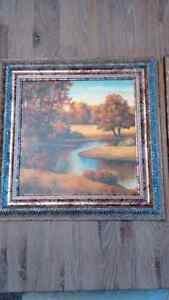 "Two vibrant 16.5"" x 16.5"" scenic pictures w/ornate silver frames London Ontario image 3"