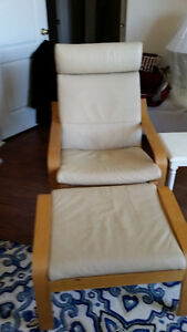Leather Poang Chair and Footstool