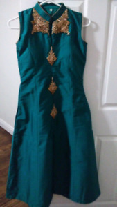 Green and gold Anarkali suit - cheap