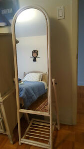 Stand up teak wood mirror