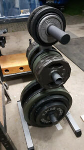 """2"""" Olympic Weight Plates + Stand"""