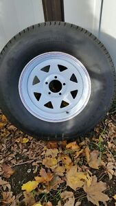 Trailer tire and rim for sale