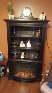 Bookcase with electric fireplace
