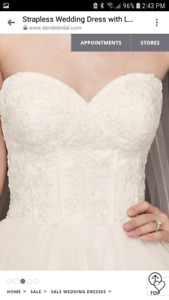 Strapless size 4 wedding gown with crystal belt