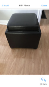 Hide Leather Ottoman from Urban Barn.