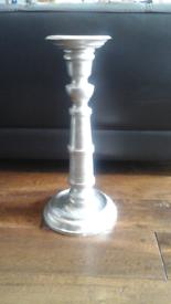 Large ornate pewter effect metal candlestick