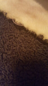 GORGEOUS GENUINE LAMBS WOOL WITH REAL MINK COLLAR COAT