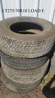 Tires 4 Michelin LTX A/T2 LT275/70R18 Load E