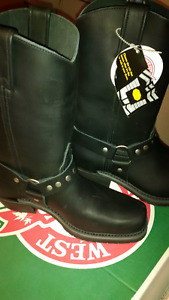 Women's Black Leather Canada West Biker Boots - Size 8.5 or 9